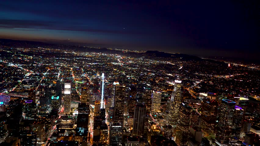 Aerial view of a Downtown Los Angeles just after sunset in 4k