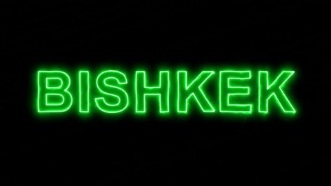 Neon flickering green capital name BISHKEK in the haze. Alpha channel Premultiplied - Matted with color black