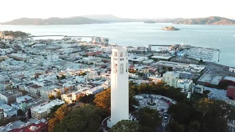 Lillian Coit Memorial Tower, Aerial View of Coit Tower, San Francisco, California, USA