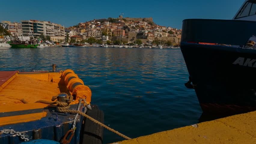 Daytime close-up shot of the city and port of Kavala in Greece. Kavala is the main seaport of eastern Macedonia