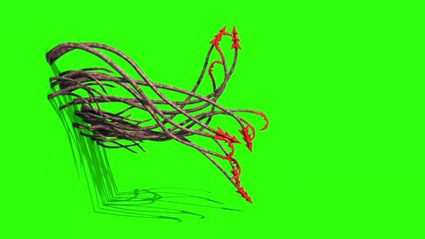 Monstrous Hooked Tentacles Wall Side Green Screen 3D Rendering Animation