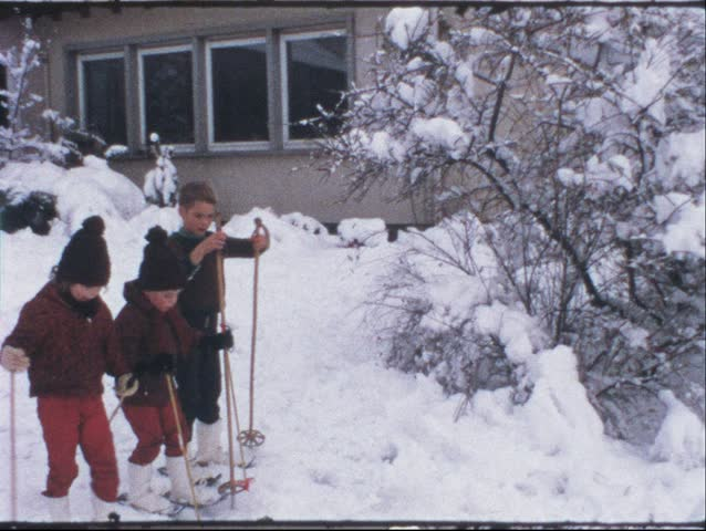 Vintage 8 mm film: Children on ski, 1970s