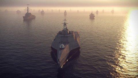 armada of warships floating on the ocean