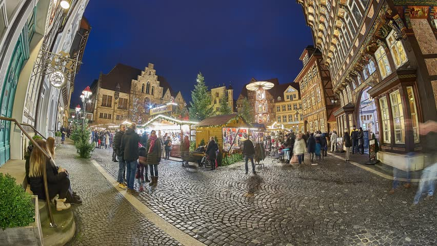 Christmas Market on the historic market place in Hildesheim, Germany. Time lapse.   Shutterstock HD Video #33954484