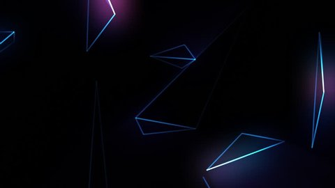 Abstract cg polygonal neon blue surface. Geometric poly light triangles motion background.