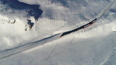 Bernina Express, red train. Unesco heritage
