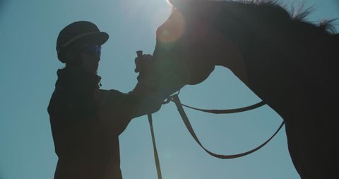silhouette of a jockey calms aggressive race horse before a competition