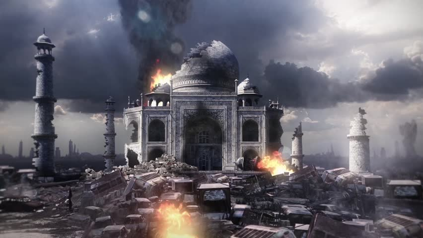 City Destroyed Taj Mahal End of the World Apocalypse War 3D Renderings Animations
