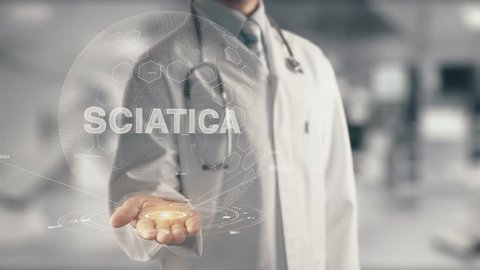 Doctor holding in hand Sciatica