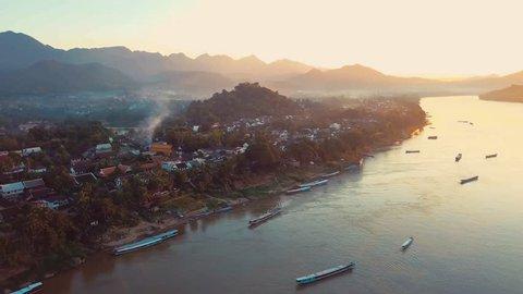 Drone aerial view of Luang Prabang, Laos