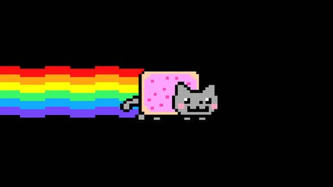 Nyan Cat HD Animation Loop with transparent background (alpha channel). Ready to use for any project.