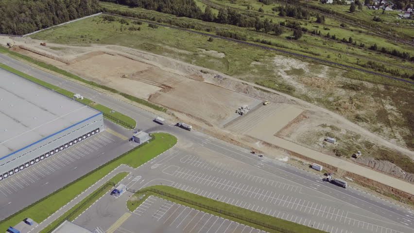 Aerial view of building a new warehouse