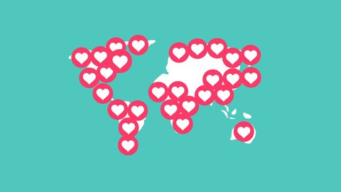 Heart love symbol pop up full fill world map on green background, looping animation 4K