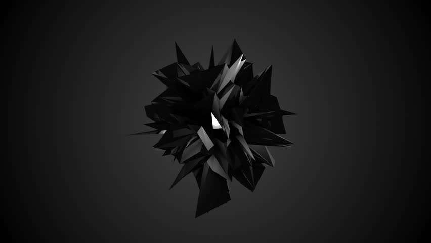 Abstract black fractal geometric element. Seamless loop