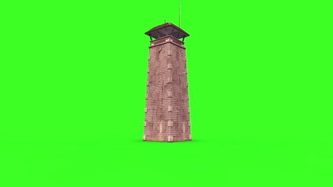 Watchtower Prison Tower Crash Explosion Green Screen Destruction 3D Renderings Animations
