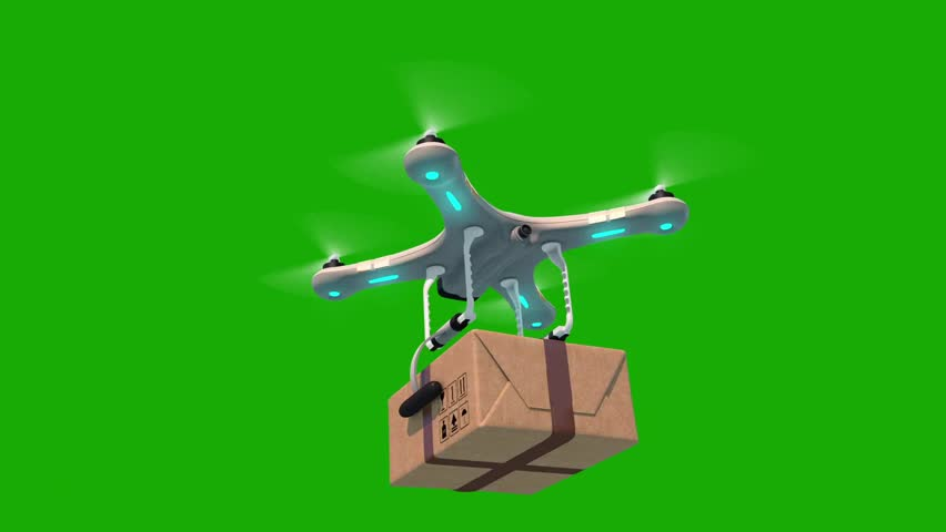 Green Screen Alpha Matte Quadcopter Delivering a Package from below Blue Sky Seamless 3d Animation Modern Delivery Concept