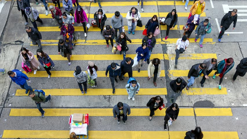 Busy pedestrian and car crossing at Hong Kong - time lapse | Shutterstock HD Video #34074442