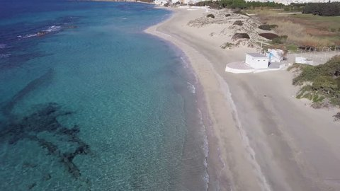 Beach landscape with bathhouse aerial view from drone