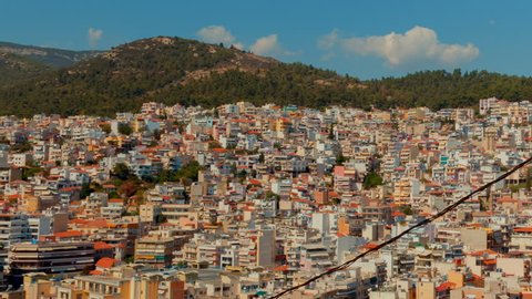 Close-up panoramic shot of the city of Kavala in Greece. Kavala is the main seaport of eastern Macedonia