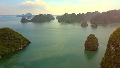 fantastic view whimsical high rocky and forestry islands washed by pictorial ocean bay