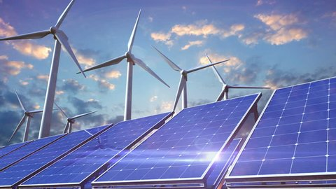 Green power ower generation by wind turbines and solar panels.