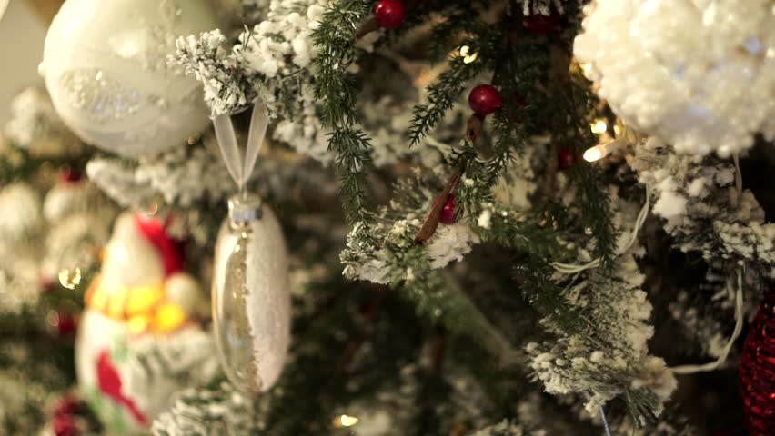 Old Fashioned Christmas Tree Decorations.A Christmas Tree Decorated With Stock Footage Video 100 Royalty Free 34154602 Shutterstock
