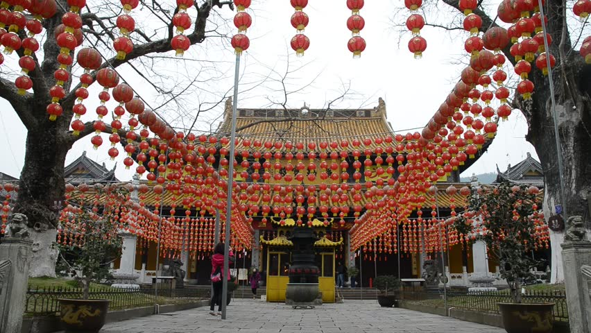 red laterns for chinese new year in Xuedou temple, Ningbo, China, Feb 13,2013.