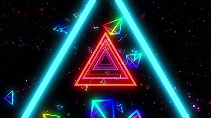 Neon triangles tunnel flight in cosmic space animation for music videos, night clubs, LED screens, projection show, video mapping, audiovisual performance, fashion events.