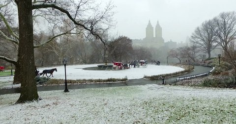 Beautiful Ultra HD cinematic video of Central Park in New York covered in snow. People taking a romantic tour with a horse and carriage moving through the snow while enjoying the panoramic lansdscape.