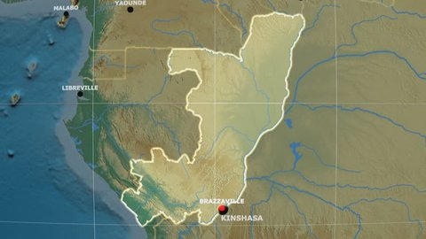 Zoom-in on Congo Brazzaville outlined on the globe. Capitals, administrative borders and graticule. Relief map