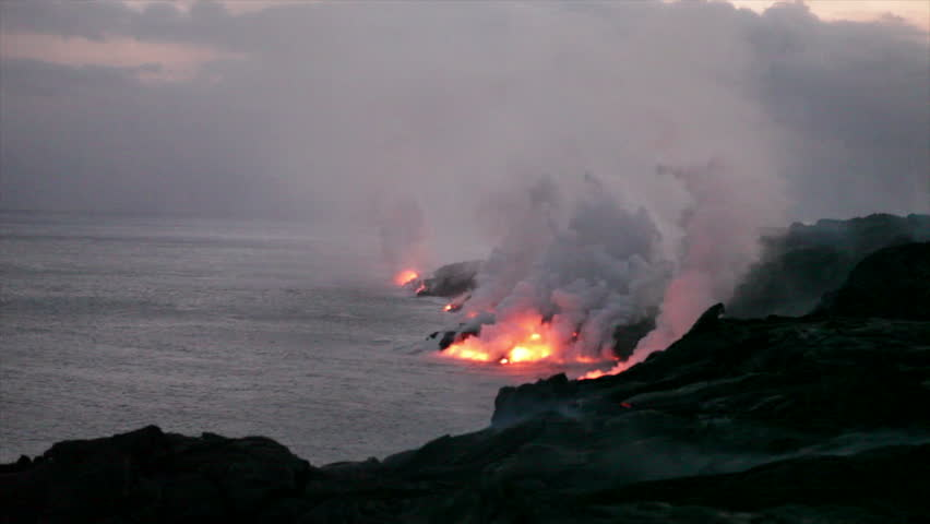 Volcanic Eruption: At the ocean entry of the Kilauea volcano's Pu`u `O