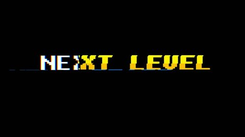 retro videogame NEXT LEVEL text on computer old tv glitch interference noise screen animation seamless loop - New quality universal vintage motion dynamic animated background colorful joyful video