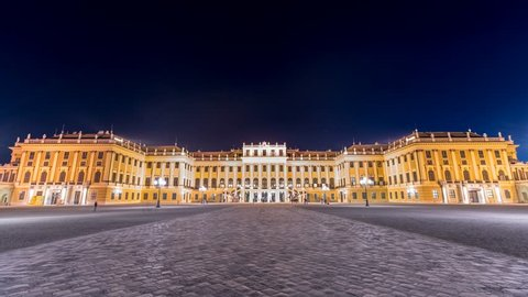 Schonbrunn Palace (schönbrunn palace)Vienna austria Timelapse at night. Schonbrunn Gloriette by the schonbrun Palace in Vienna