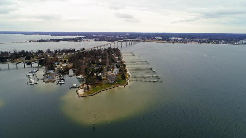 Lexington Park, MD - December 24, 2017: An aerial drone view of the Patuxent River and the Thomas Johnson Bridge off of the Chesapeake Bay.
