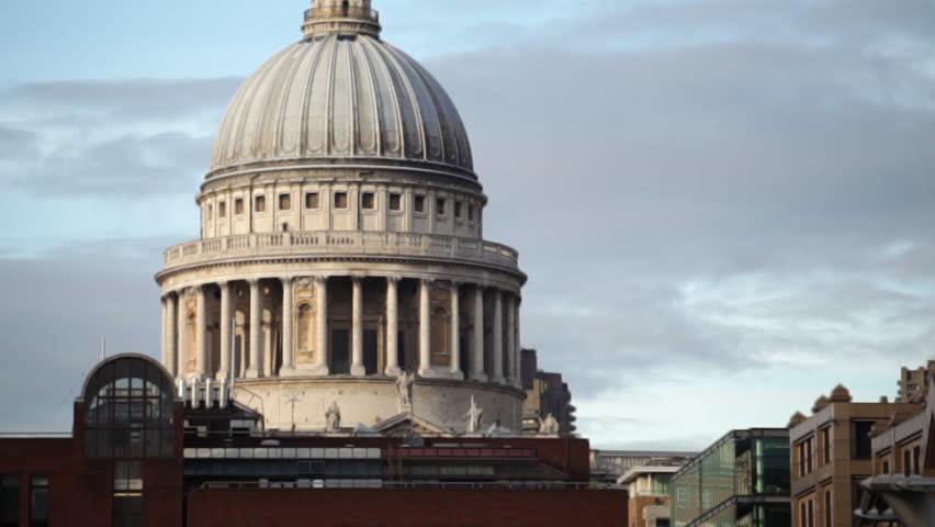 Traveling view of St. Paul's Cathedral, camera passes under the Millennium