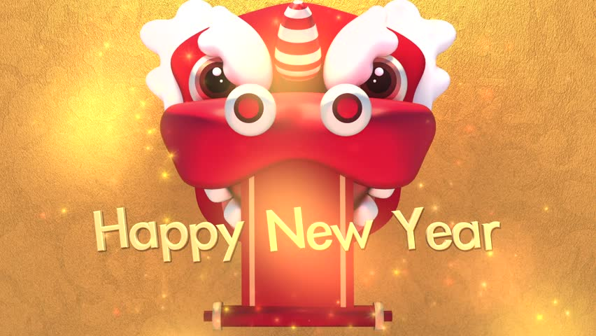 Chinese New Year Greeting Motion Graphics Red Lion Mask And Golden 3d Happy