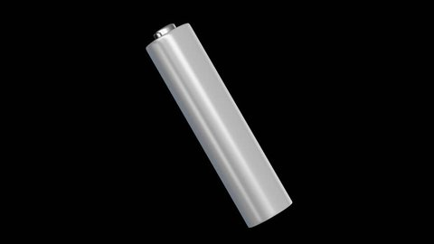 3d rendered blank aaa battery floating and spinning on a black background. This item includes an alpha matte and seamlessly loops