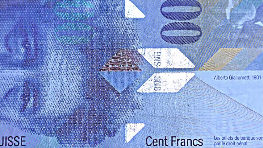 Swiss Money – 100 CHF, Cent Francs  - iridescent stripe banknote – holographic stripe, detail   Shutterstock HD Video #34442272