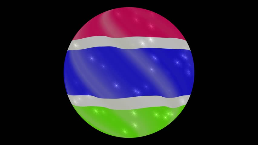 Gambia flag in a round ball rotates. Flicker and shine. Animation loop. Element for web site, presentation, import into video.