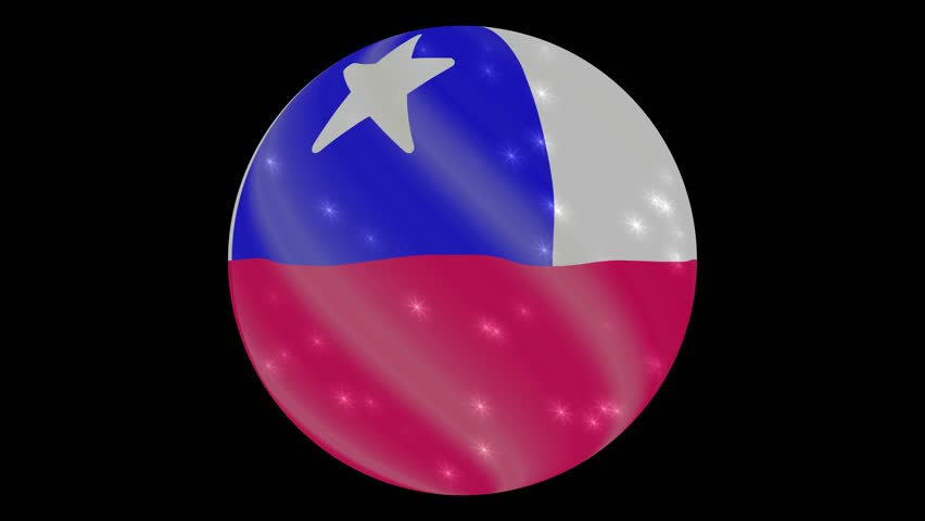 Chile flag in a round ball rotates. Flicker and shine. Animation loop. Element for web site, presentation, import into video.
