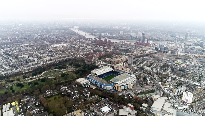 London, UK - DECEMBER 25 : Stamford Bridge Home Ground Stadium of Chelsea Football Club 'The Blues' Aerial Helicopter View on December 25, 2017. Iconic Famous Modern Soccer Arena in Fulham, England 4K