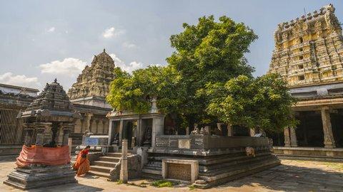 Kanchipuram - 08.10.2017: Ekambareswarar temple, Kanchipuram South India 4k time lapse