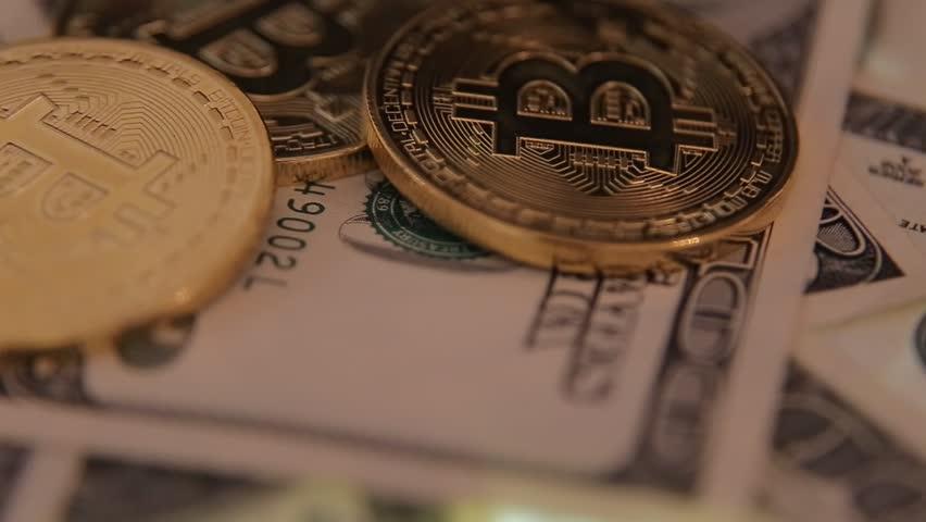 Golden Bitcoins And Dollars Macro Shot