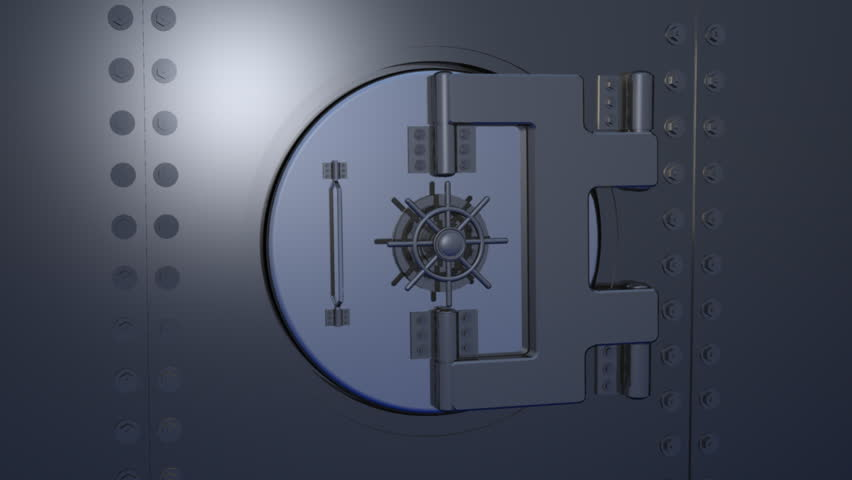 Computer-generated 3D animation depicting a gold dollar symbol inside a bank vault (concept: wealth)