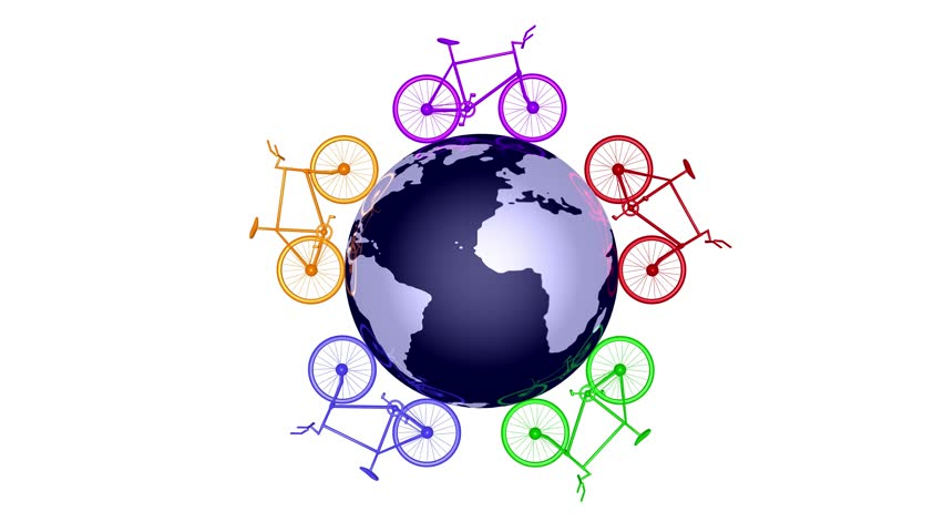 Colorful Bicycles circling world. 3d animation. Black and white alpha matte included.