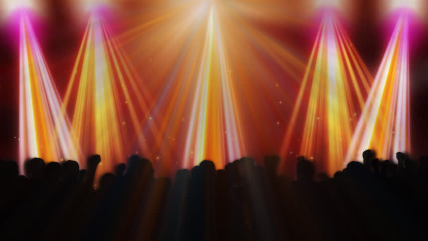 Disco flashes with concert crowd and colorful reflectors