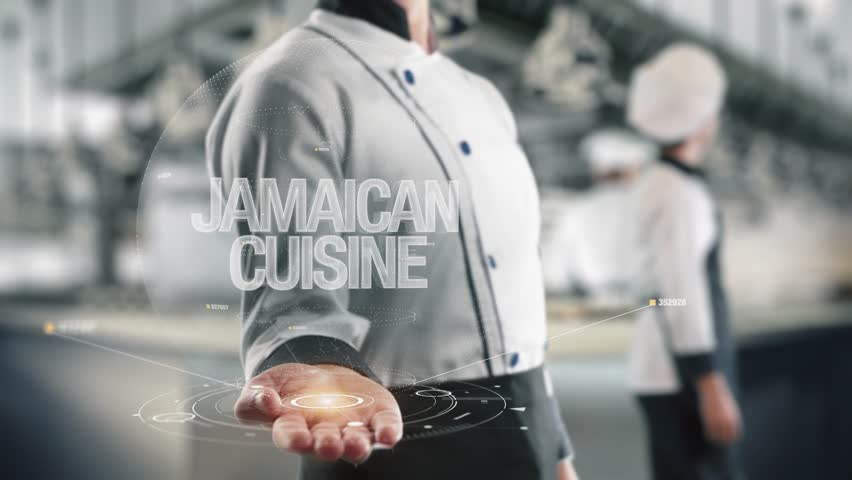 Chef holding in hand Jamaican Cuisine
