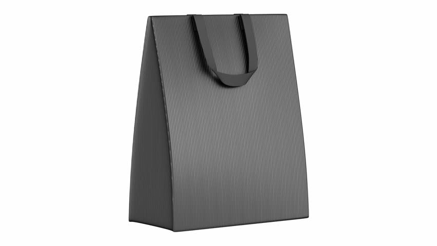 single blank gray shopping bag loop rotate on white background