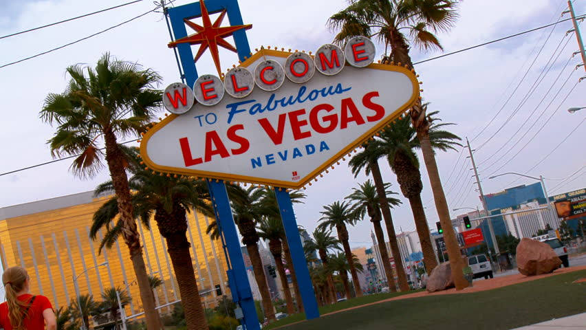 """Fast snap zoom of the world famous """"Welcome to Fabulous Las Vegas, Nevada"""". 