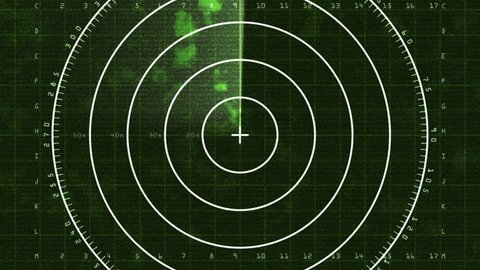 Radar Blip Full Screen, Analog (30fps). Enlarged loop of a radar screen displaying clouds and a bar refreshing as it decays. There is static interference in the signal causing noise in the image.